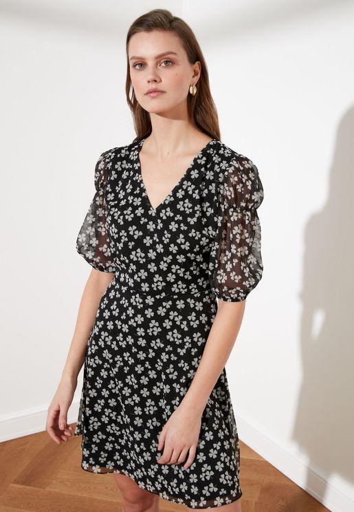 Sheer Sleeve Floral Print Dress