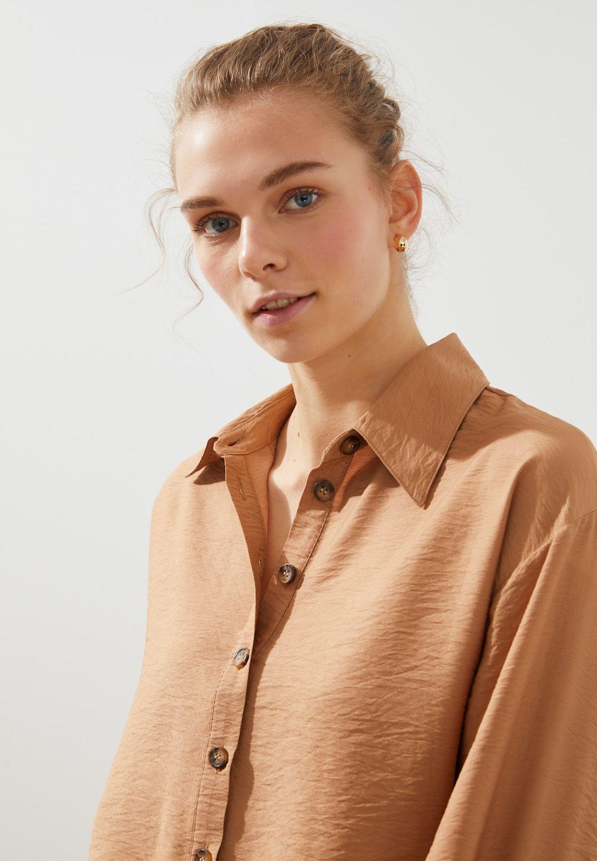 Button Down Puff Sleeve Shirt