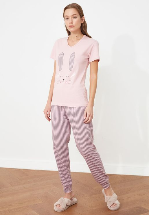 Printed Knitted Pyjama Set