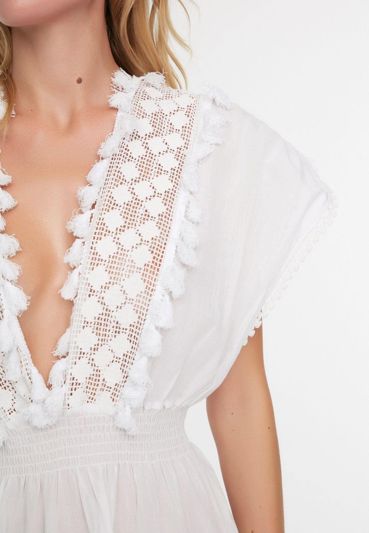Lace Detail Shirred Dress