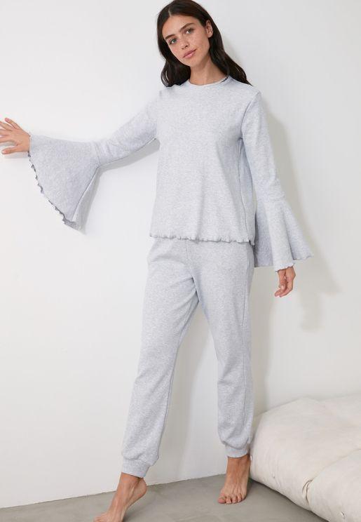 Flute Sleeve Pyjama Set