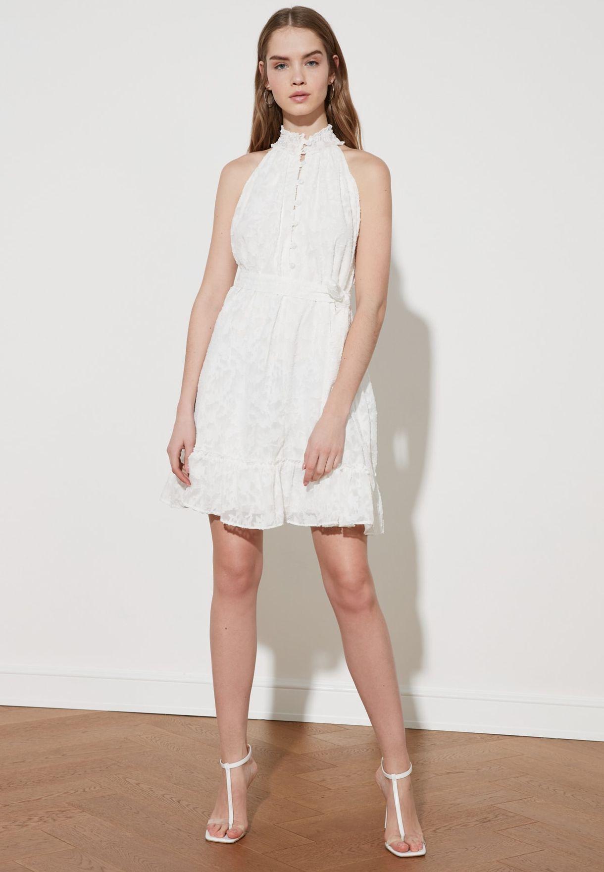 Halter Neck Textured Dress