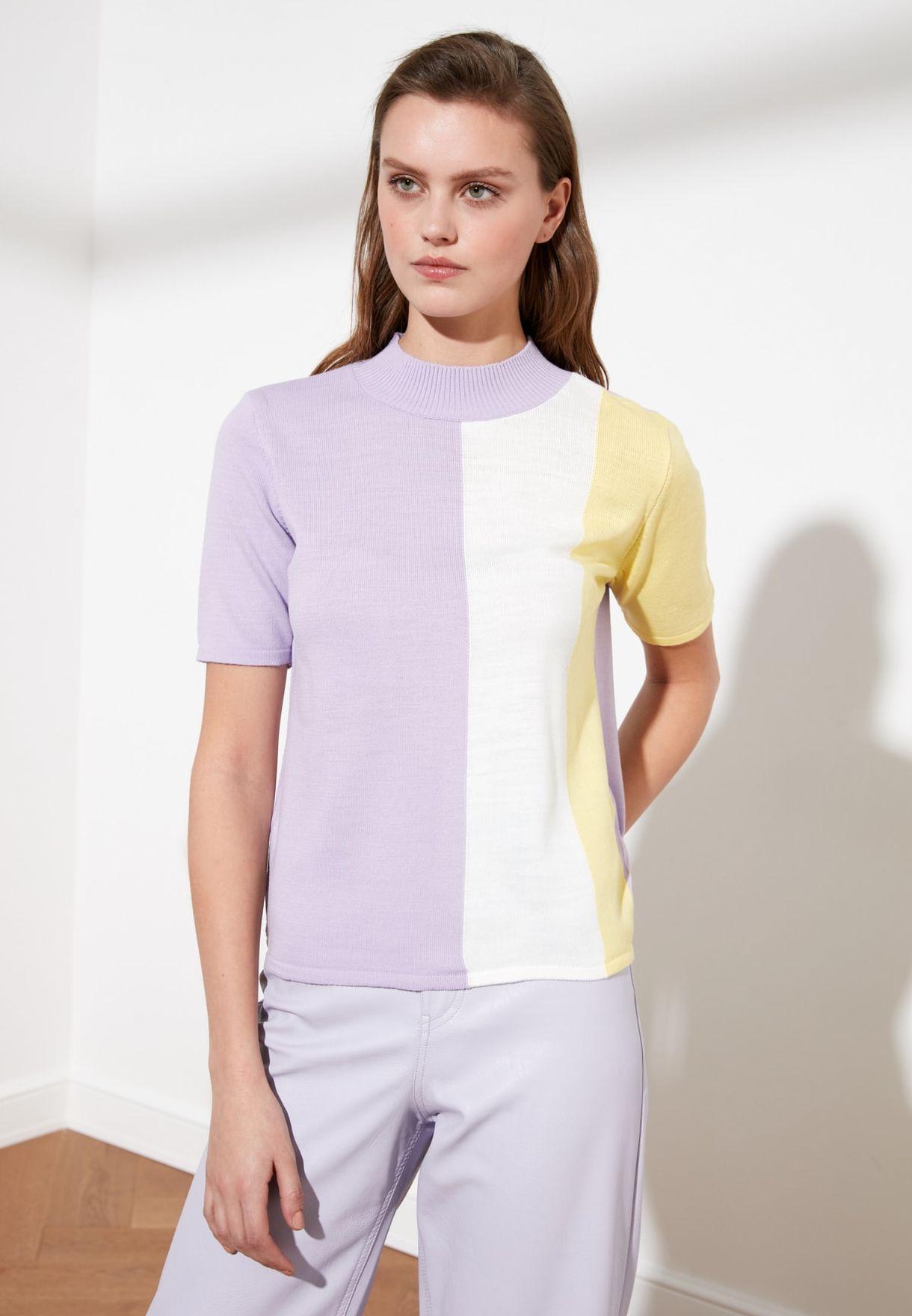 High Neck Colorblock Sweater