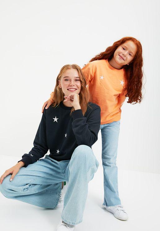 Kids Embroidered Star Sweatshirt