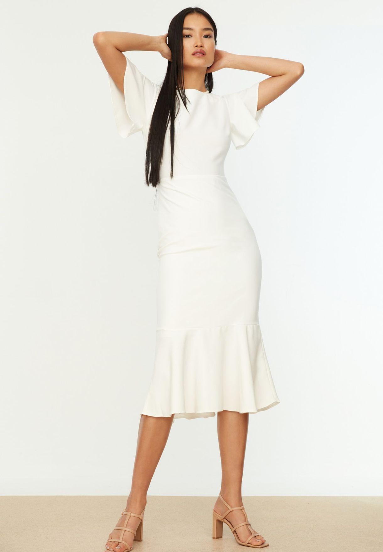 Flutter Sleeve Ruffle Hem Dress