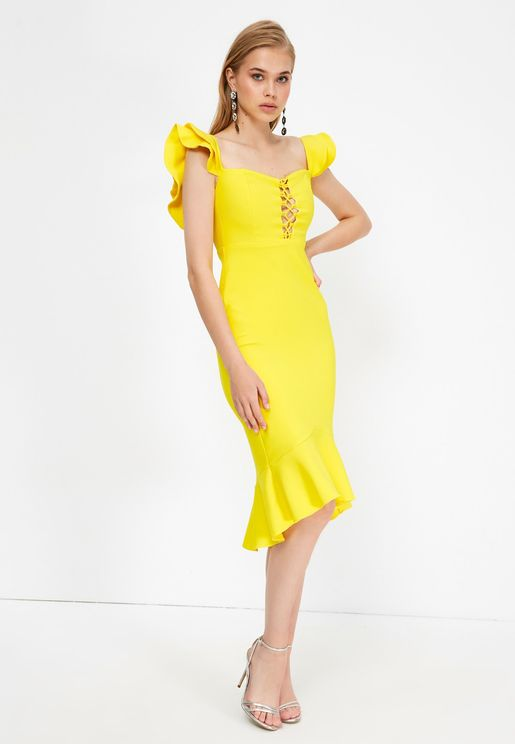 Square Neck Asymmetric Dress