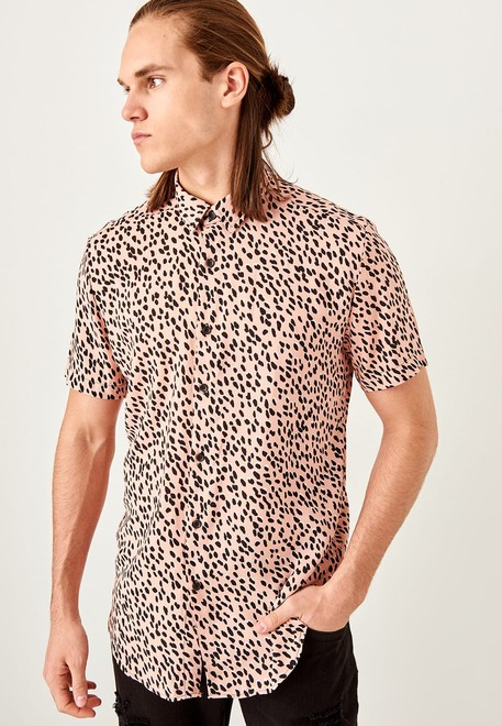 885d4f937161 Shop Trendyol prints Leopard Print Slim Fit Shirt TMNSS19RM0047 for ...