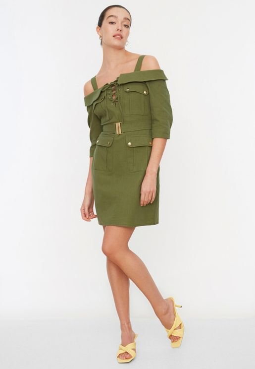 Lace Up Detail Cold Shoulder Dress