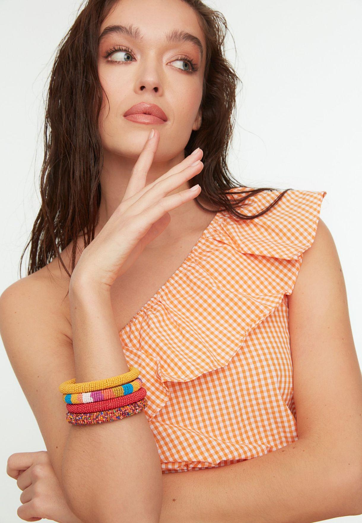Ruffle Detail One Shoulder Top & Skirt Set