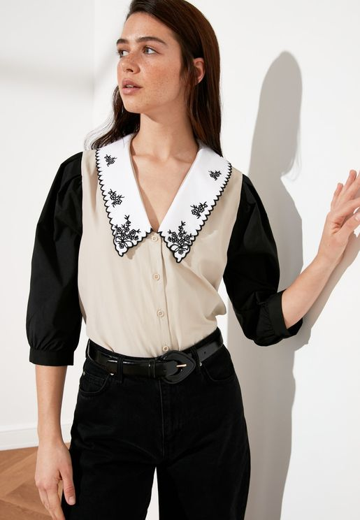 Balloon Sleeve Button Down Shirt