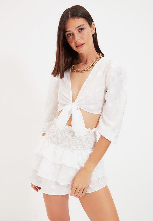Lace Detail Top & Skirt Set