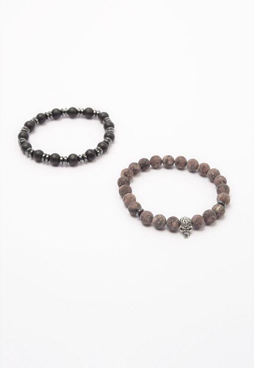 2 Pack Beaded Bracelet