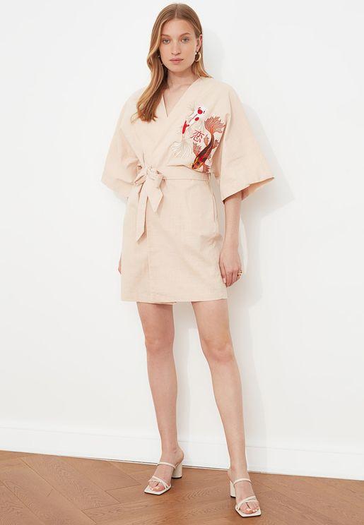 Embroidered Wrap Kimono