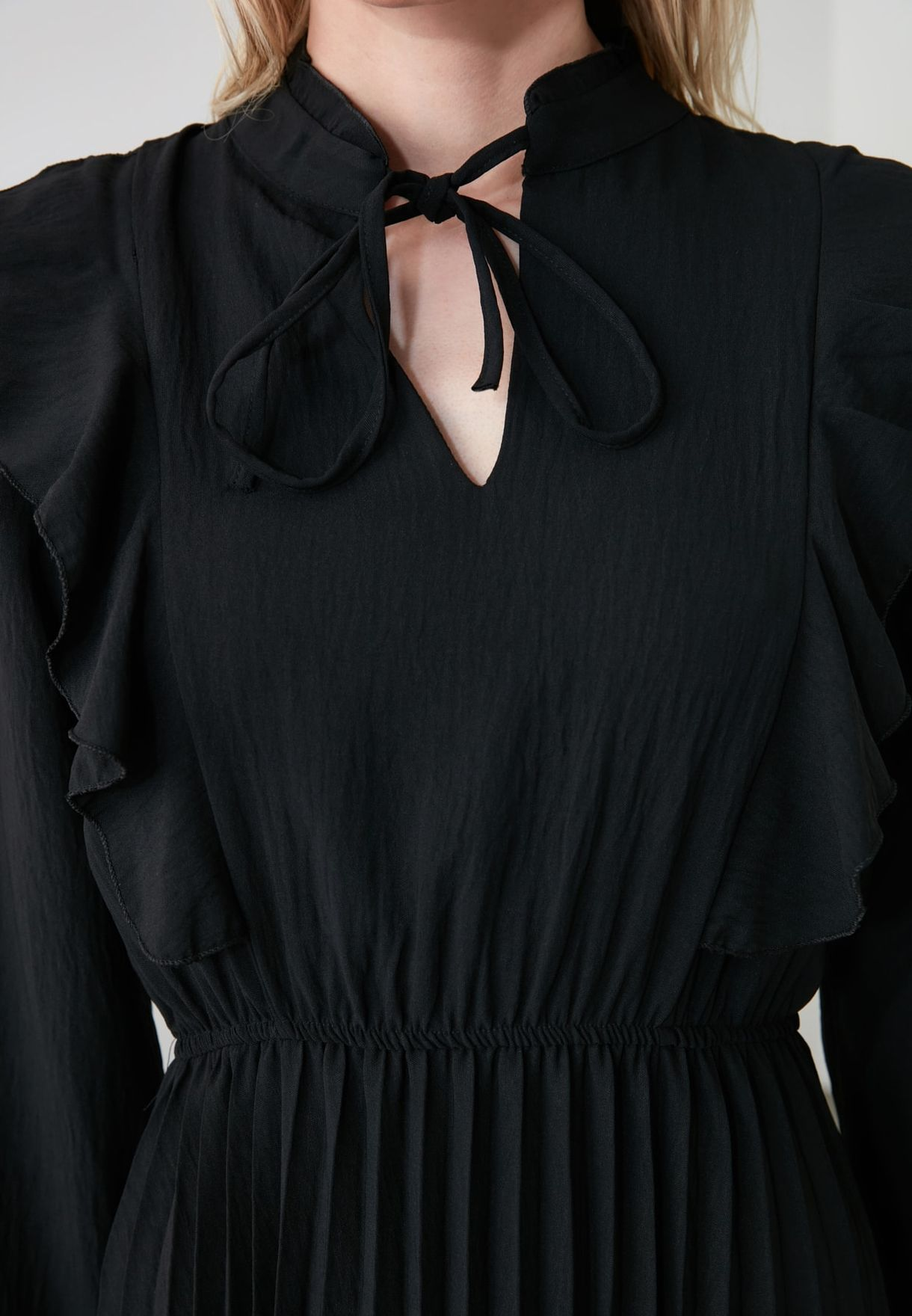 Pleated Choker Neck Dress