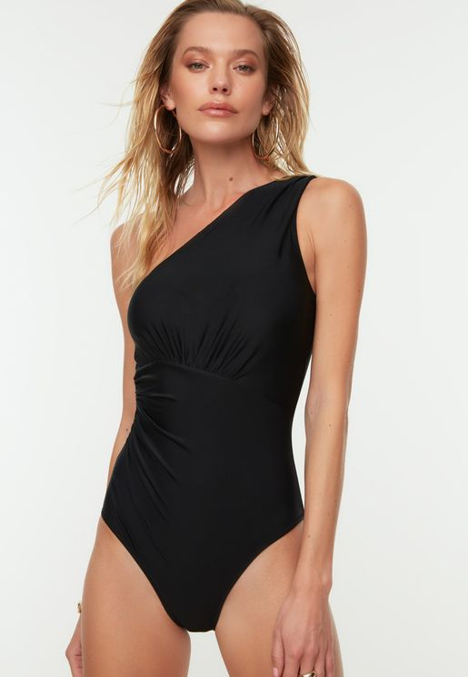 Ruched One Shoulder Swimsuit