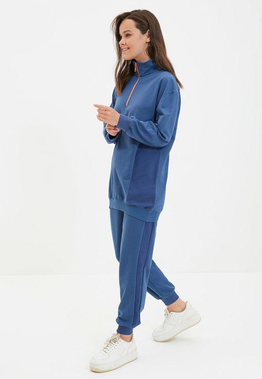 Zip Detail Tunic & Pants Set