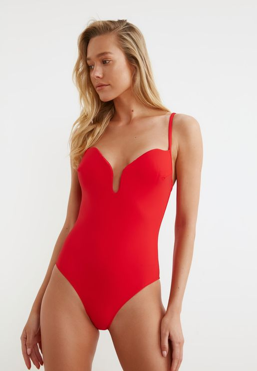Notch Neck Plunge Swimsuit