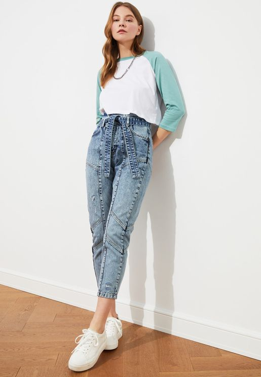 Lacing Detail High Waist Mom Jeans