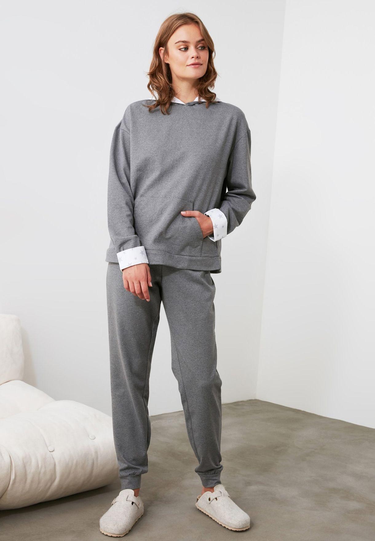Hooded Knitted Top & Pyjama Set