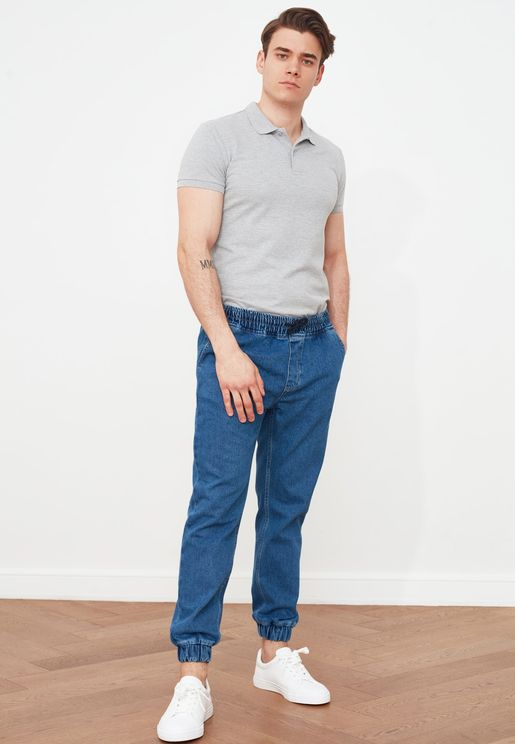 Mid Wash Relaxed Fit Jogg Jeans
