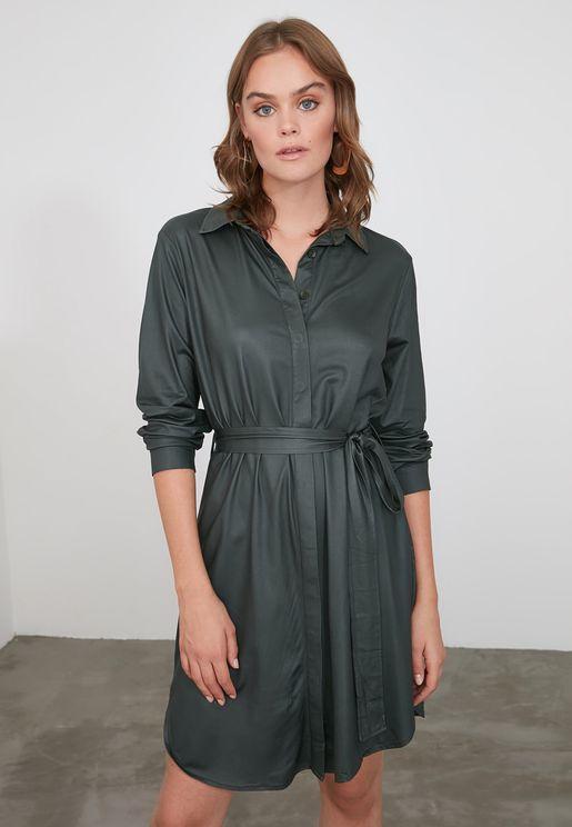 Side Tie Shirt Dress