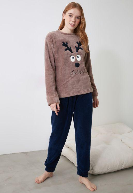 Embroidered Pajamas Set