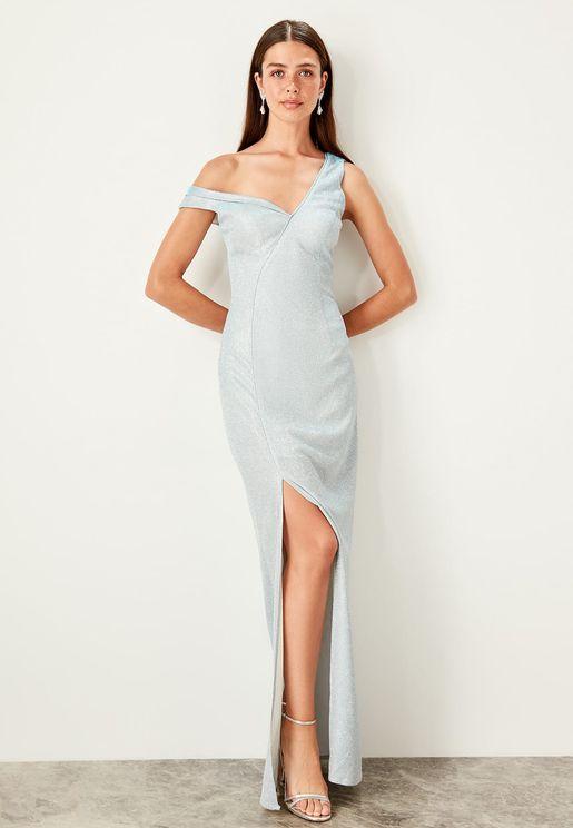 One Shoulder Front Split Bodycon Dress