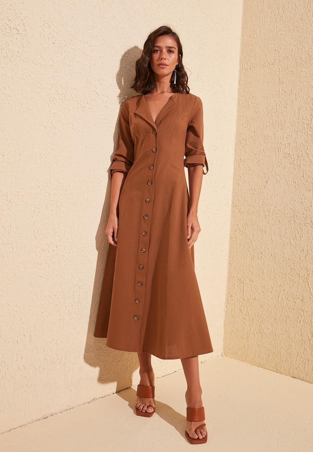 Roll Sleeve Shirt Dress