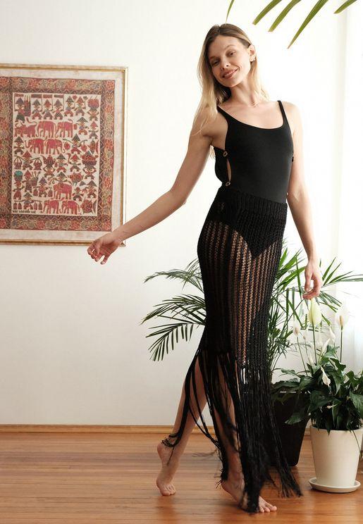 Knitted Fringe Skirt