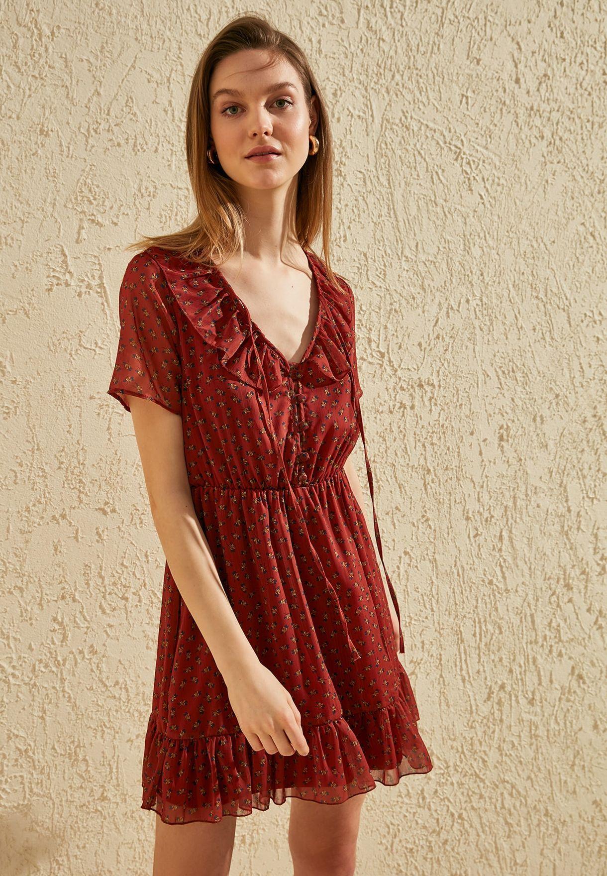 Trendyol Pleated Printed Dress - Fashion