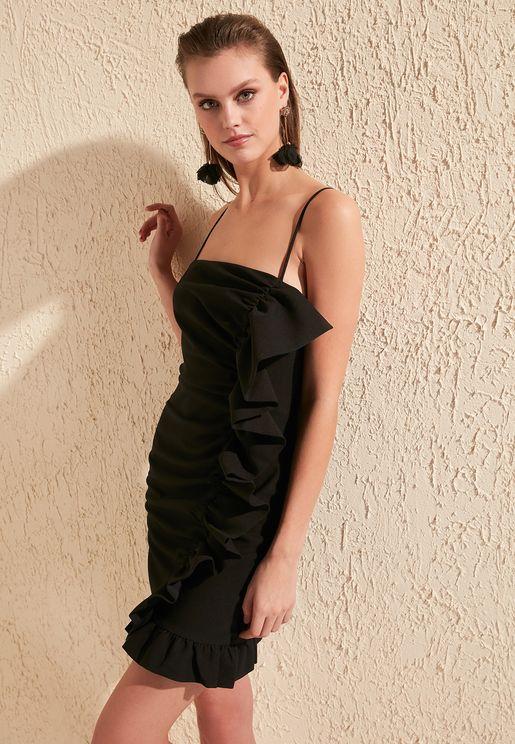 Ruffle Trim Cami Strap Dress