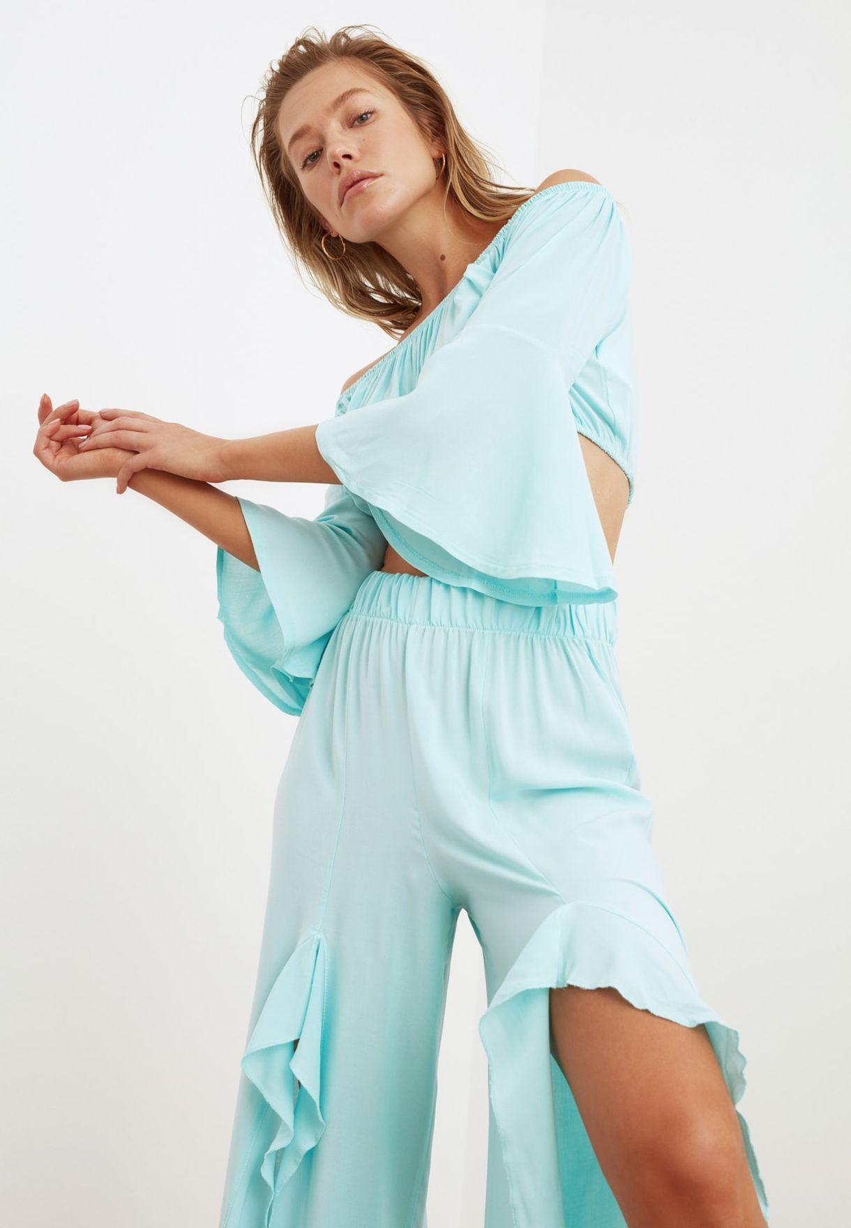 Bardot Top & Pleated Skirt Set