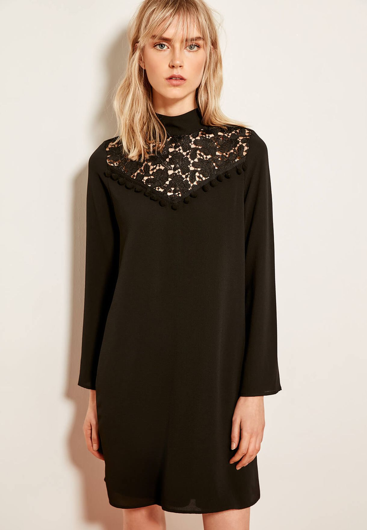 98e88b327e330 Shop Trendyol black High Neck Lace Detail Dress TCLAW19EH0263 for Women in  Qatar - 27680AT5ZVZP