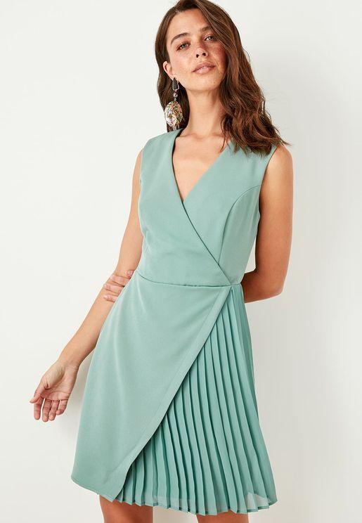 Pleated Detail Wrap Dress