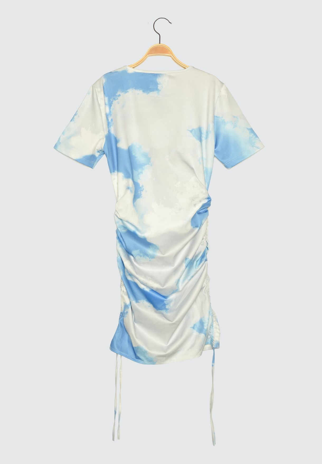 Blue Gathered Tie-Dye Knitted Dress