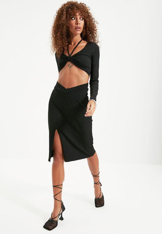 Front Split Midi Skirt