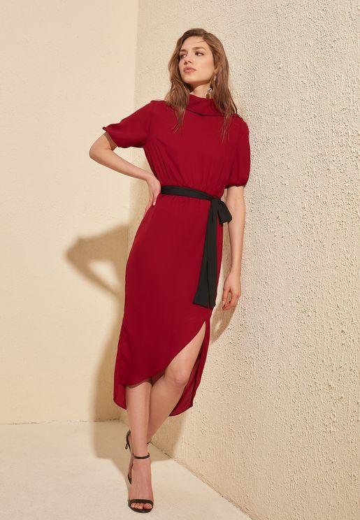 Side Slit Asymmetric Dress