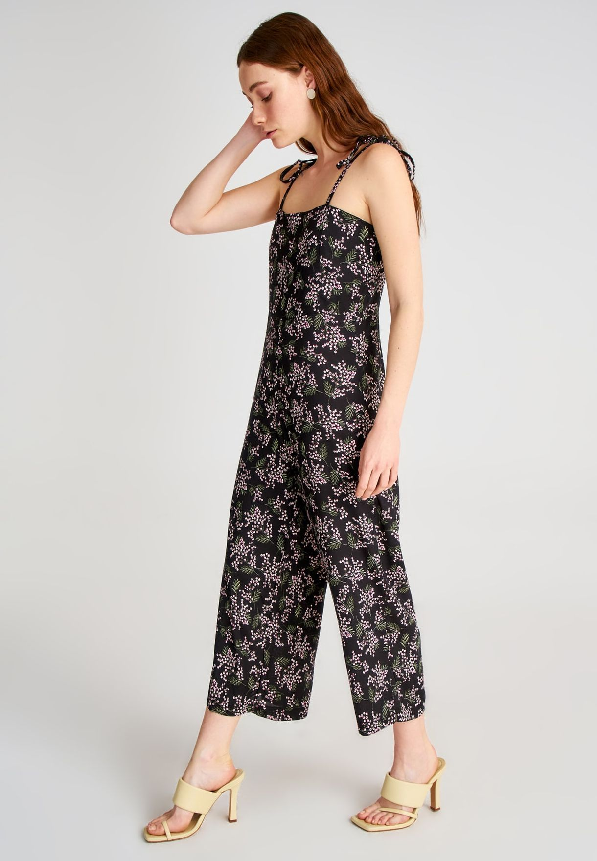 Tie Shoulder Floral Print Jumpsuit