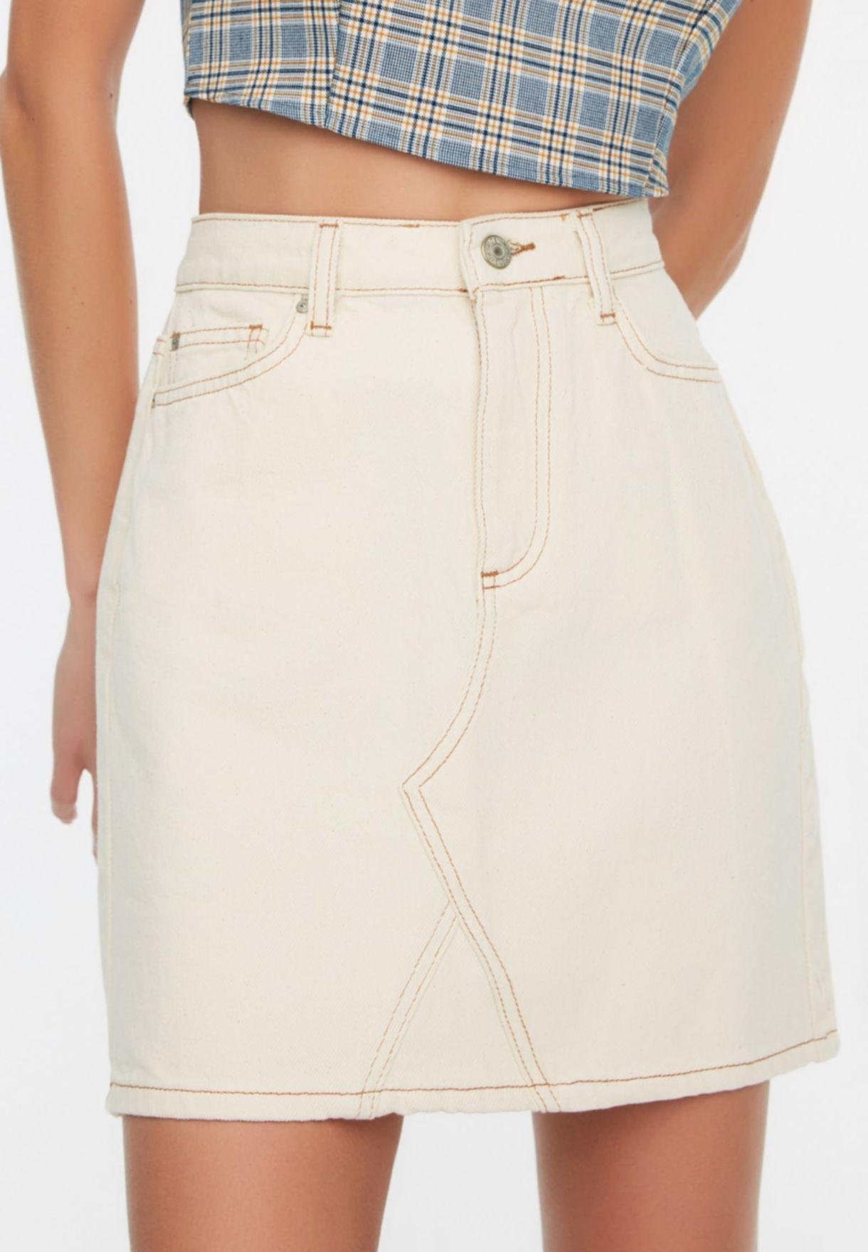 Pocket Detail Denim Skirt