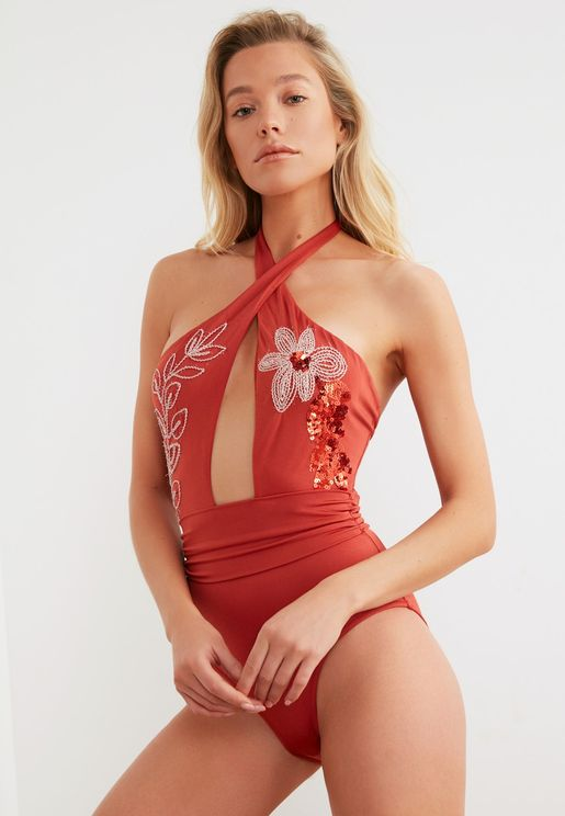 Sequin Embroidered Swimsuit