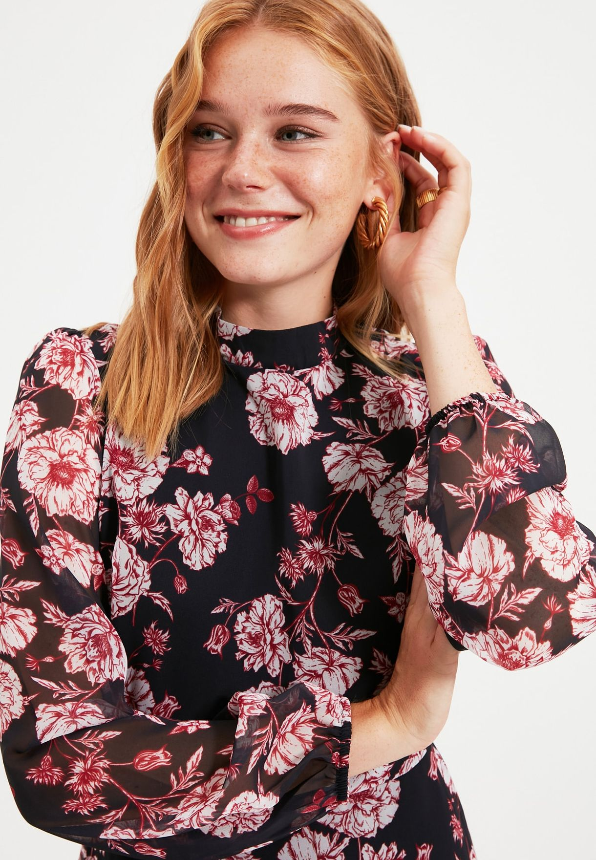 Floral Print Mesh Sleeve Dress