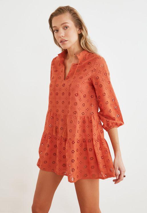 Broderie Detail Shirt Dress