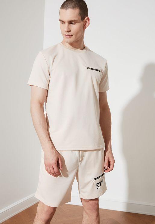Zip Detail T-Shirt & Shorts Set