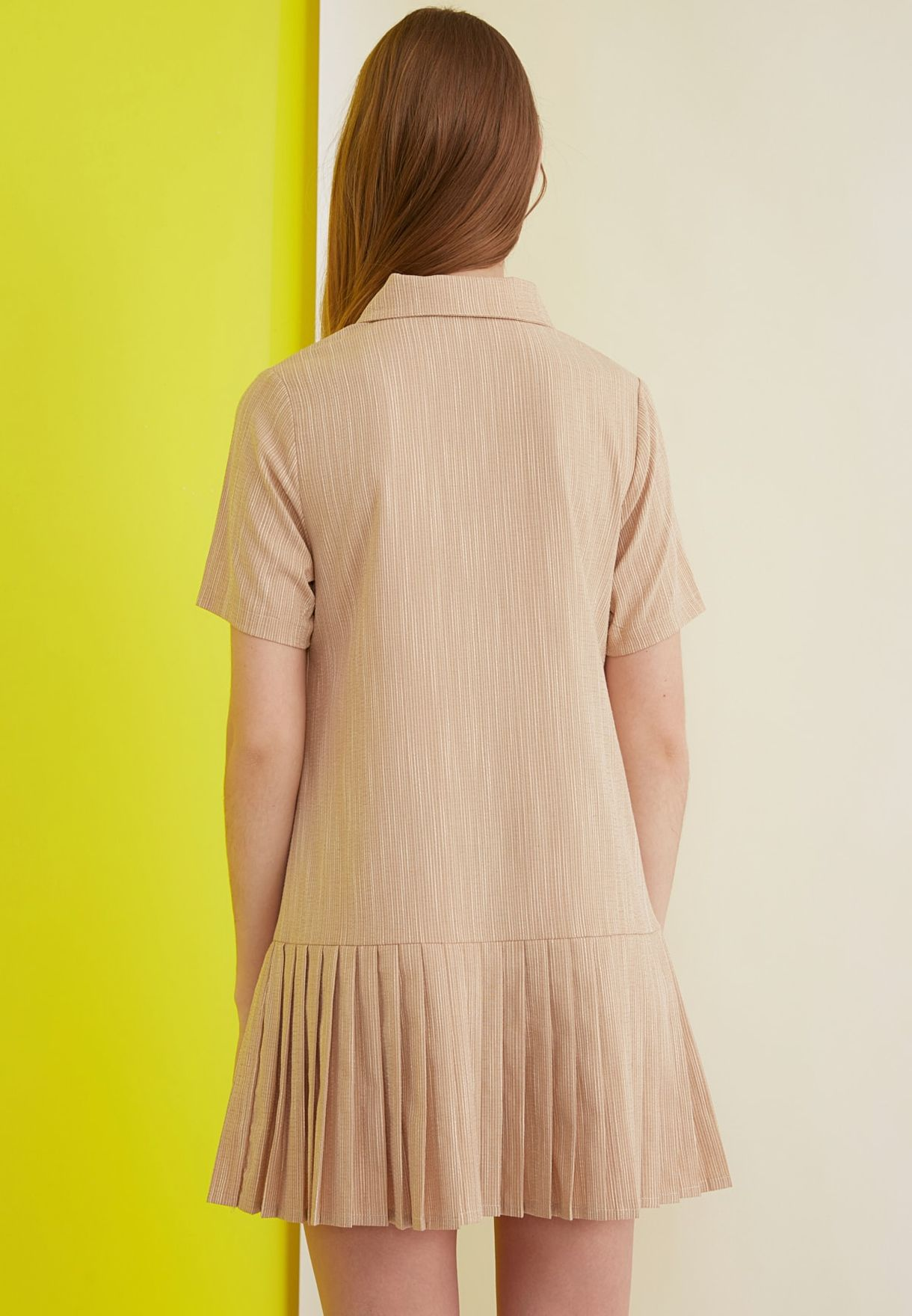 Button Detail Pleated Shirt Dress