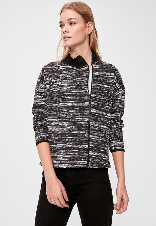 Contrast Trim Full Zip Printed Sweatshirt