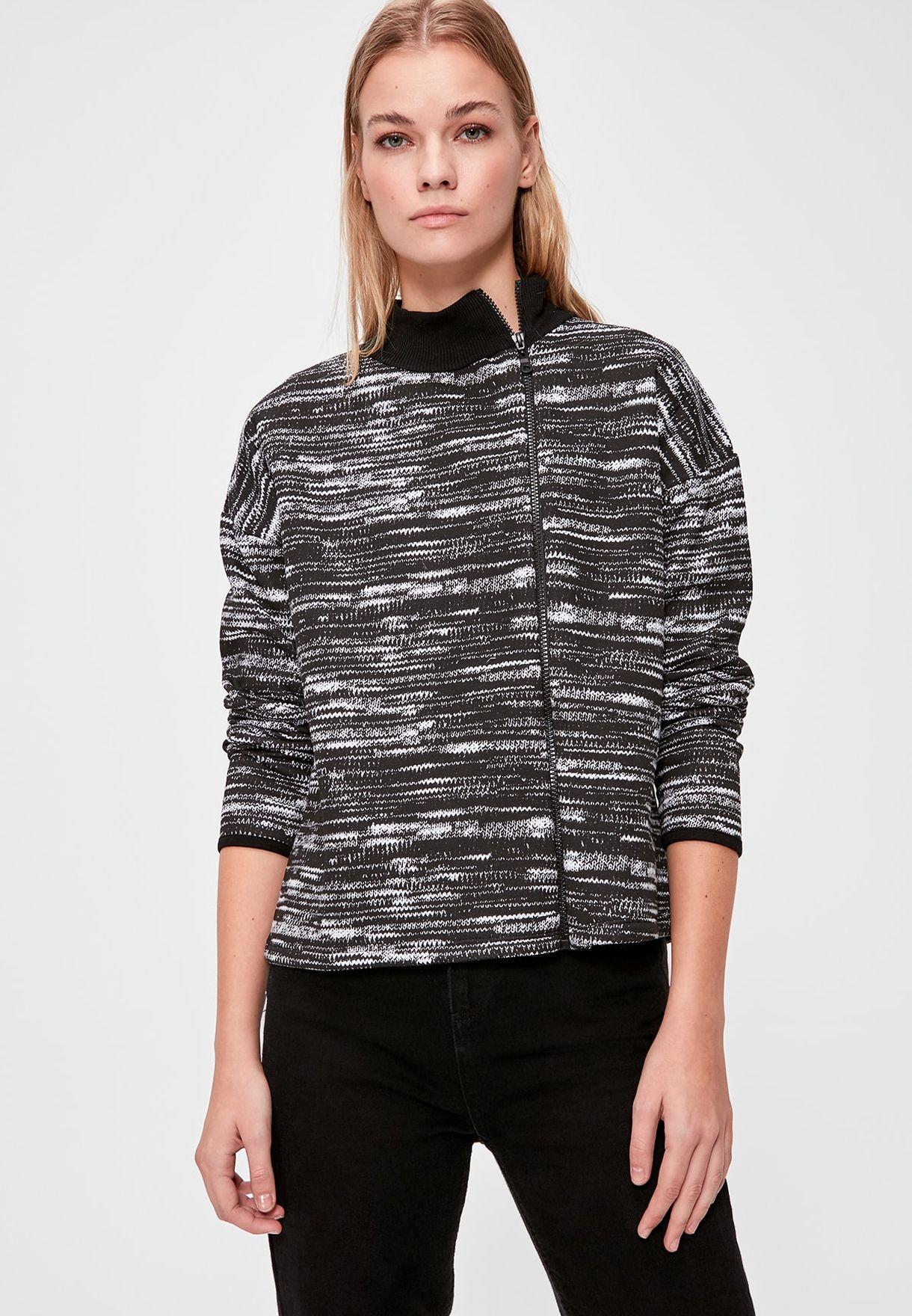 Contrast Trim Full Zip Printed Sweatshirt