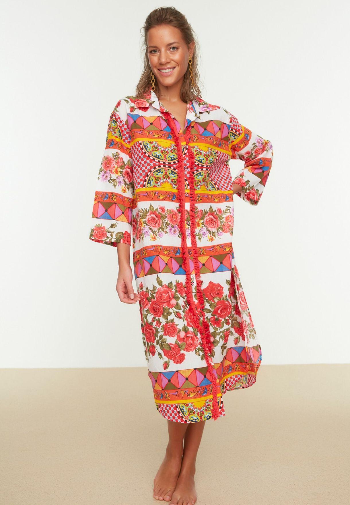 Printed Longline Kimono