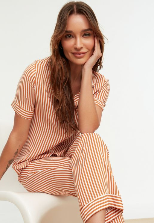 Striped Shirt & Pyjama Set