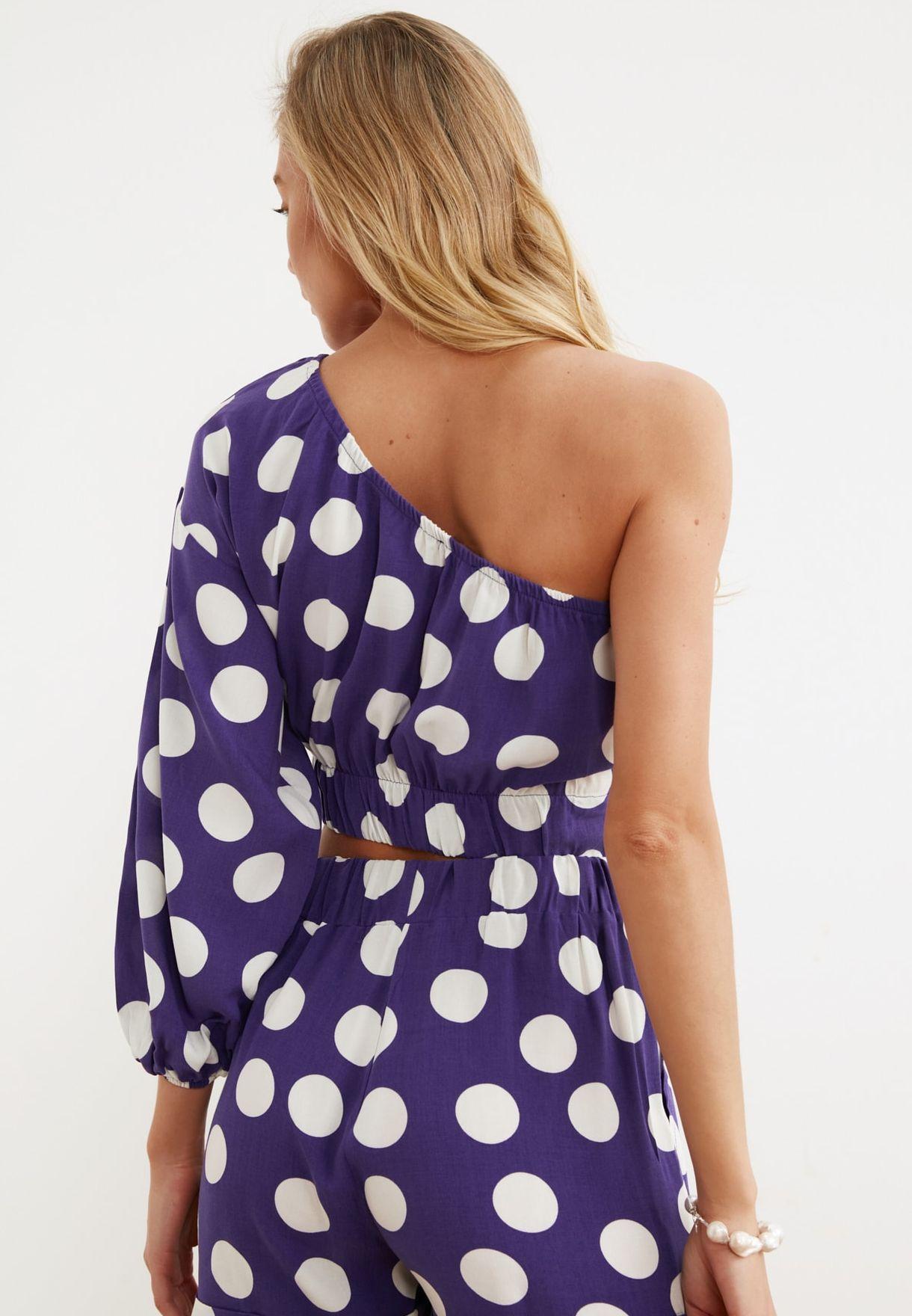 Polka Dot One Shoulder Crop To & Shorts Set