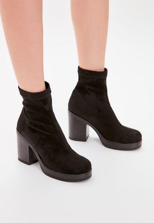 Block Low Heel Ankle Boot